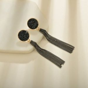Boho Festival Black Dangle Tassel Earrings
